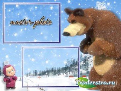 Рамка детская для фотошопа Маша и медведь