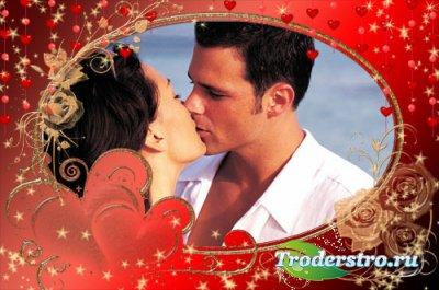 Романтическая рамочка для фотошопа - Розы на сердце