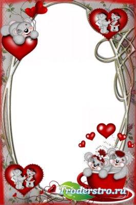 Романтическая рамочка для фотошопа - Мишки с сердечками