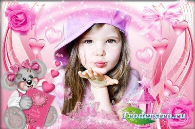 Рамка для фотошопа - Розовая валентинка