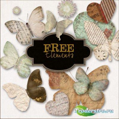 Клипарт - Винтажные бабочки и сердечки