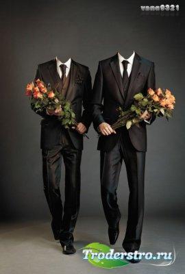 Мужской шаблон для фотошопа для двух мужчин в костюмах и с розами