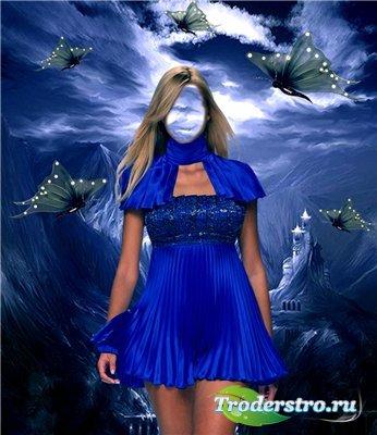 Шаблон для фотомонтажа - Девушка в синем платье