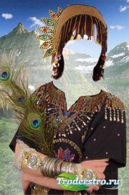 Шаблон для фотошоп – Девушка-индеец