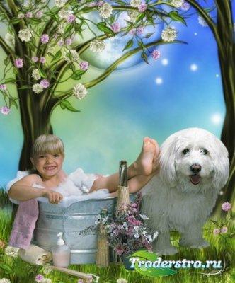 Детский шаблон для фотошоп - Неразлучные друзья