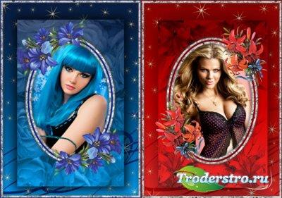 2 Рамки для фото Синие и красные лилии