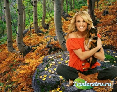 Женский шаблон для фотошопа - В лесу с собачкой