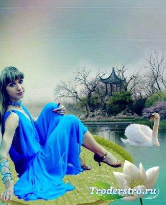 Женский шаблон для фотошоп - На пруду