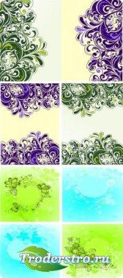 Векторный клипарт - Красивые весенние фоны