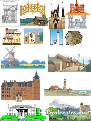 Архитектурные сооружения в векторе