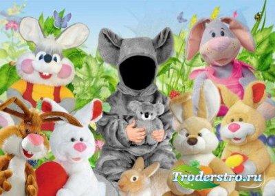 Шаблон для фотошоп – Коала и зайцы