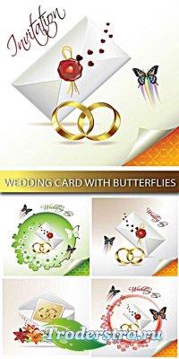 Векторный клипарт - Wedding card with butterflies
