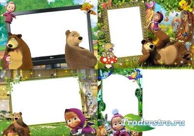 Детские рамки - Маша и Медведь PSD