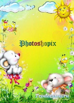 Рамка детская для фото - Две мышки на лужайке