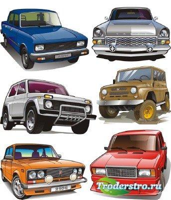 Советские, русские автомобили в векторе