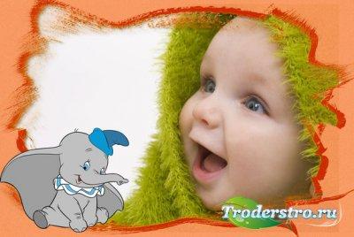 Рамка для Photoshop - Забавный слоненок