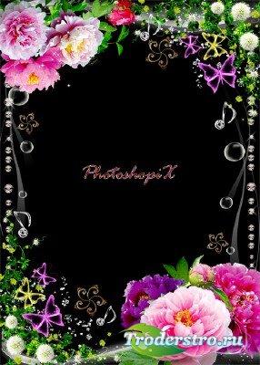 Цветочная рамка для фотошопа с яркими пионами и зеленью