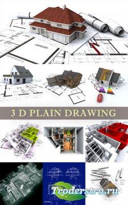 Фотоклипарт - Дома и чертежи 3D