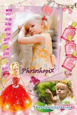 Детская фоторамка на два фото для девочек – Страницы из жизни ребенка
