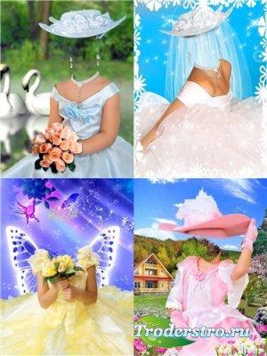 Набор шаблонов для фотомонтажа – Маленькие барышни