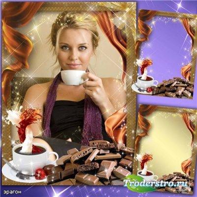 Рамка для фотошопа – Кофе с шоколадом