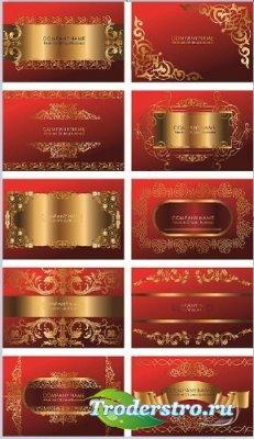 Шаблоны визитных карточек - Золото на красном