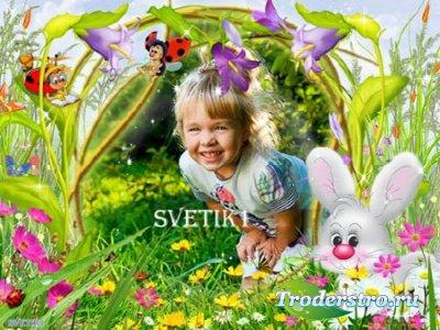 Детская рамка для фотошопа - На полянке