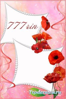 Женская цветочная рамка – Жемчуг и маки