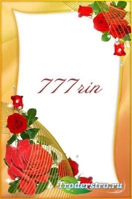 Женская цветочная рамка – Красные розы