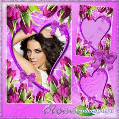Цветочная рамка для фото – Великолепные тюльпаны