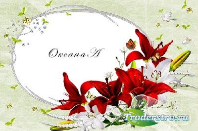 Рамка для фотошоп Красные лилии