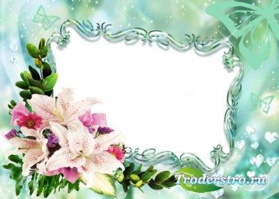 Рамка для фотошоп – Лилии и бриллианты