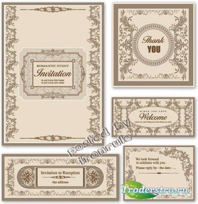 Романтические винтажные приглашения в векторе -3