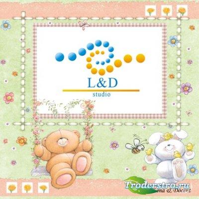 Детская рамка - Мишка и зайчик