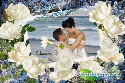Рамка для фотошоп Чарующая белая роза
