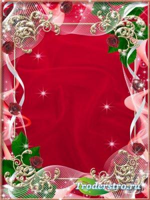 Рамка для фото - Красная роза любви