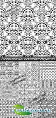 Бесшовные векторные черно-белые фоны - орнаменты 1