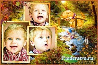 Детская фоторамка - Котенок на мостике