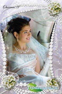 Свадебная рамка  для фотошоп  Жемчужное ожерелье