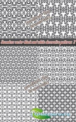 Бесшовные векторные черно-белые фоны - 2