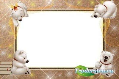 Рамка для фотошоп – Белые медвежата