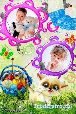 Детская рамка на два фото – Кошки – мышки