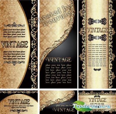 Золотые винтажные баннеры и визитные карточки - 4
