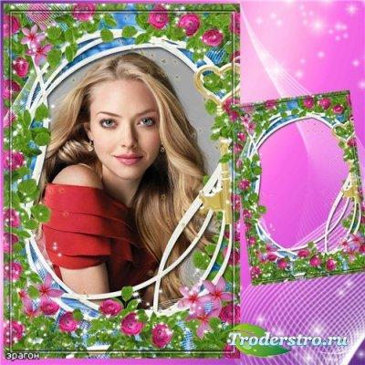 Цветочная рамка для фотошопа – Прекрасные розовые розы