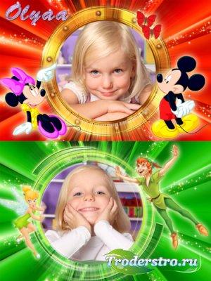 Детские рамки для фотошоп с персонажами Диснея