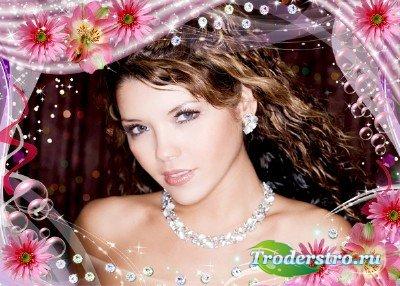 Фоторамка для Photoshop - В розовом гламуре