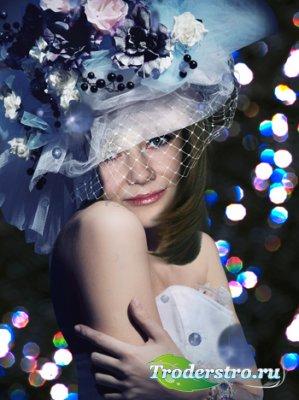 Женский шаблон для фотошоп «Вечерний портрет»