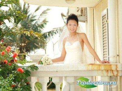 Шаблон для фото Невеста на балконе