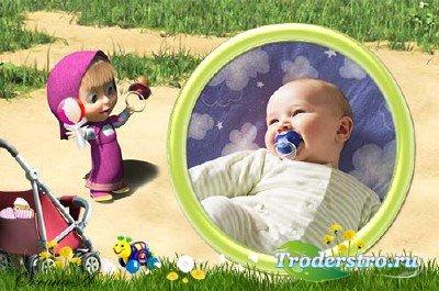 Детская рамка для фотошоп - Игрушка и пустышка для малышки от Маши