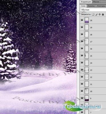 PSD Исходники - Зимний Лес (Winter forest)